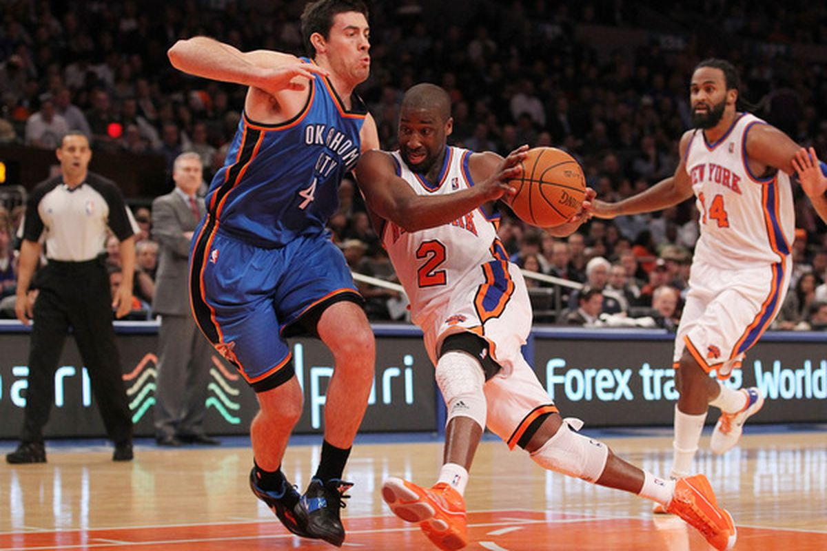 Raymond Felton (2 )of the New York Knicks drives against Anthony Randolph (4) of the Oklahoma City Thunder at Madison Square Garden on December 22 2010 in New York City.  (Photo by Al Bello/Getty Images)