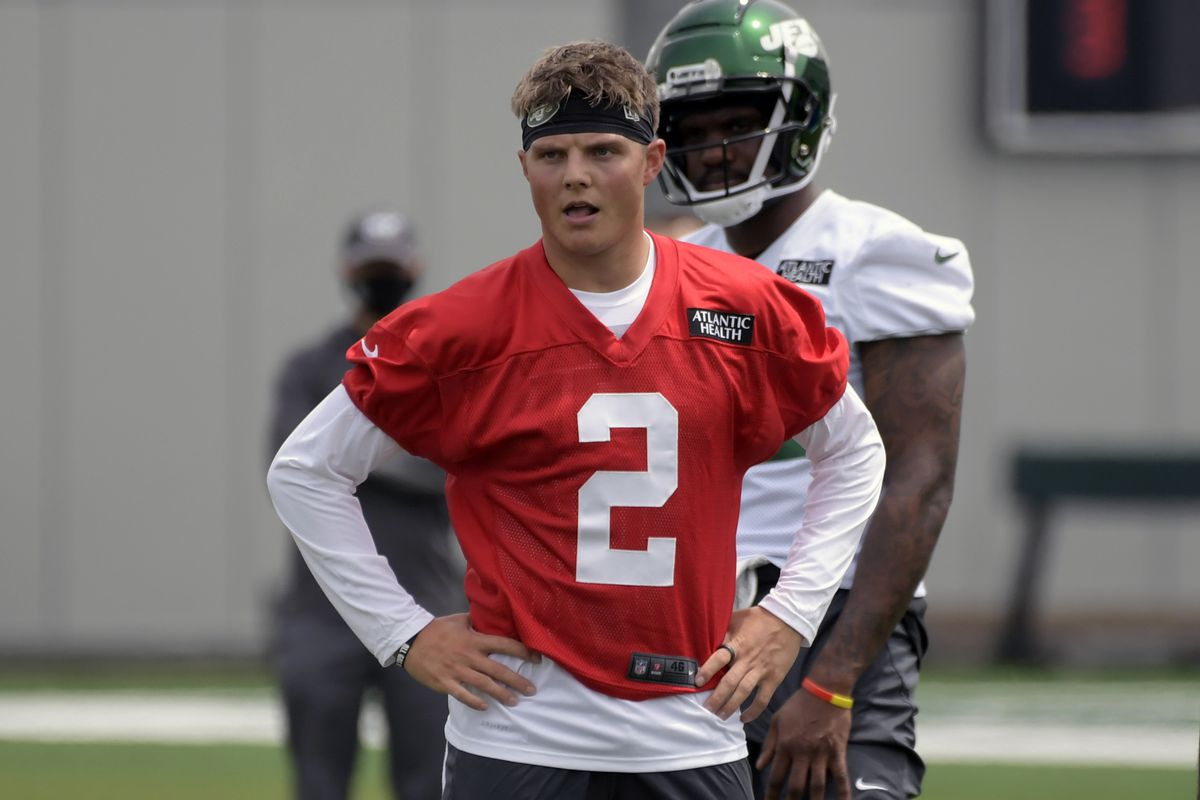 New York Jets first-round draft pick Zach Wilson works out during NFL football rookie camp.