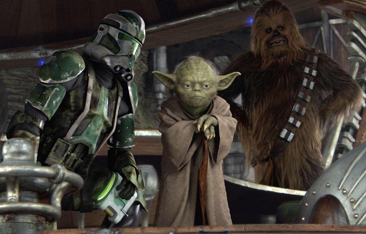 clone trooper, yoda, and chewbacca in revenge of the sith