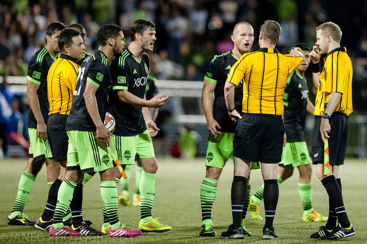 Sounders players were quite upset when the final whistle blew