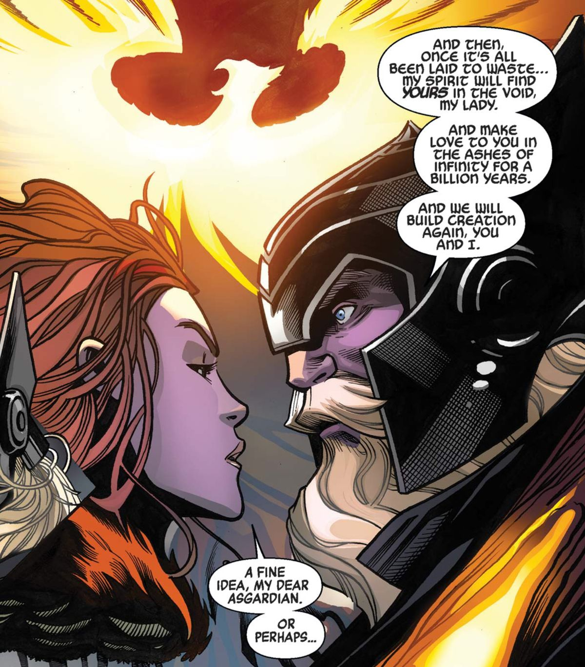The Phoenix and Odin in Avengers #1, Marvel Comics (2018).