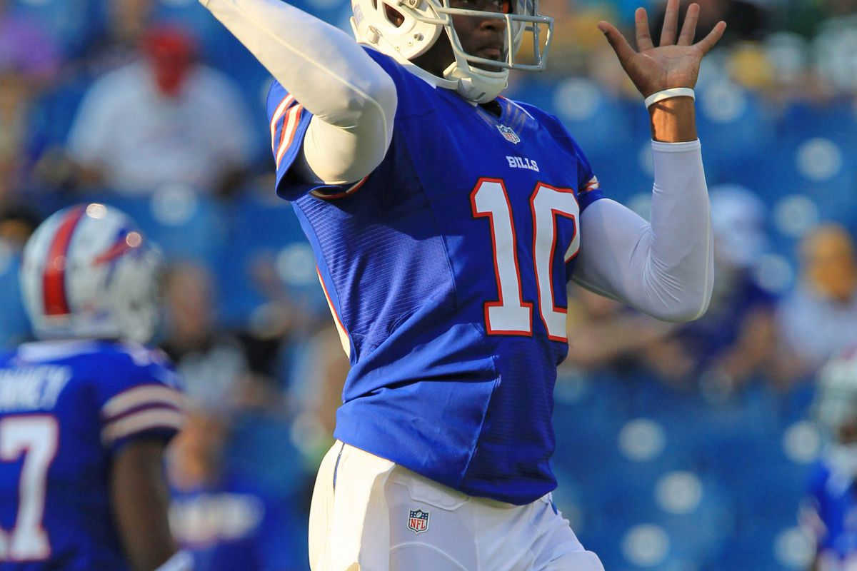 Aug 25, 2012; Orchard Park, NY, USA; Buffalo Bills quarterback Vince Young (10) passes the ball during pre-game warm-ups at Ralph Wilson Stadium. Mandatory Credit: Kevin Hoffman-US PRESSWIRE