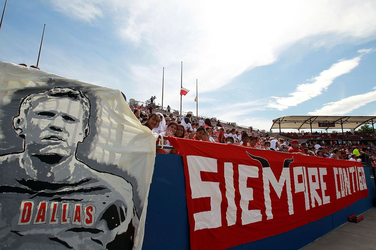 FRISCO, TX - SEPTEMBER 24:  A tribute for former player and commentator, Bobby Rhine of FC Dallas at Pizza Hut Park on September 24, 2011 in Frisco, Texas.  (Photo by Ronald Martinez/Getty Images)
