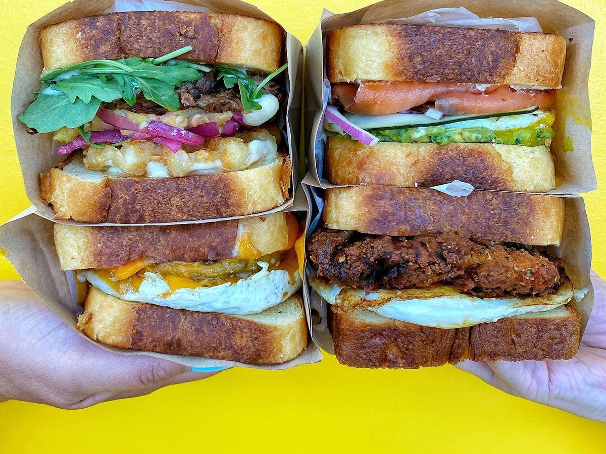 Four breakfast sandwiches on Texas toast