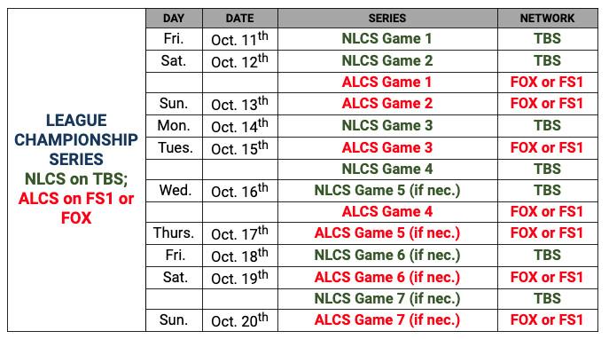 Mlb Playoff Schedule 2019 MLB announces 2019 postseason schedule   Bleed Cubbie Blue