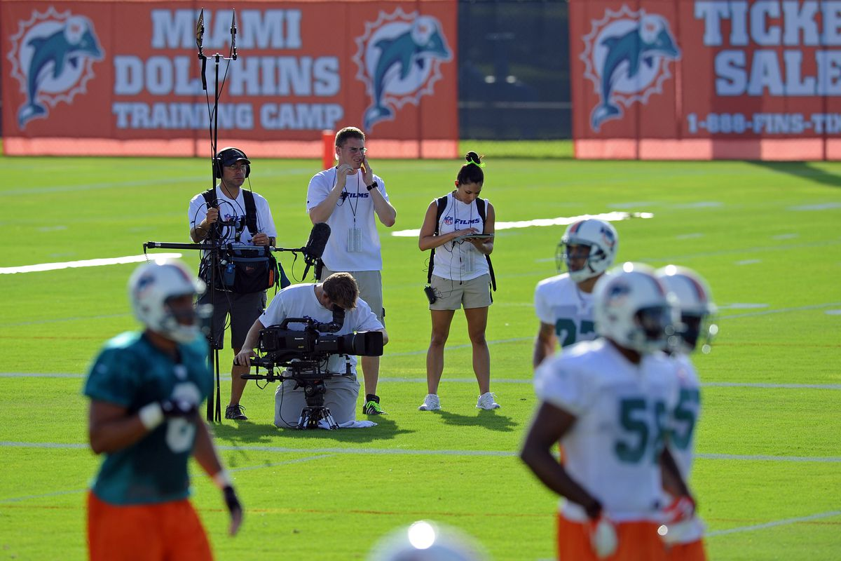July 27 2012; Davie, FL, USA; HBO sports series Hard Knocks is seen taping a feature mini-series during their practices at the Dolphins training facility. Mandatory Credit: Steve Mitchell-US PRESSWIRE