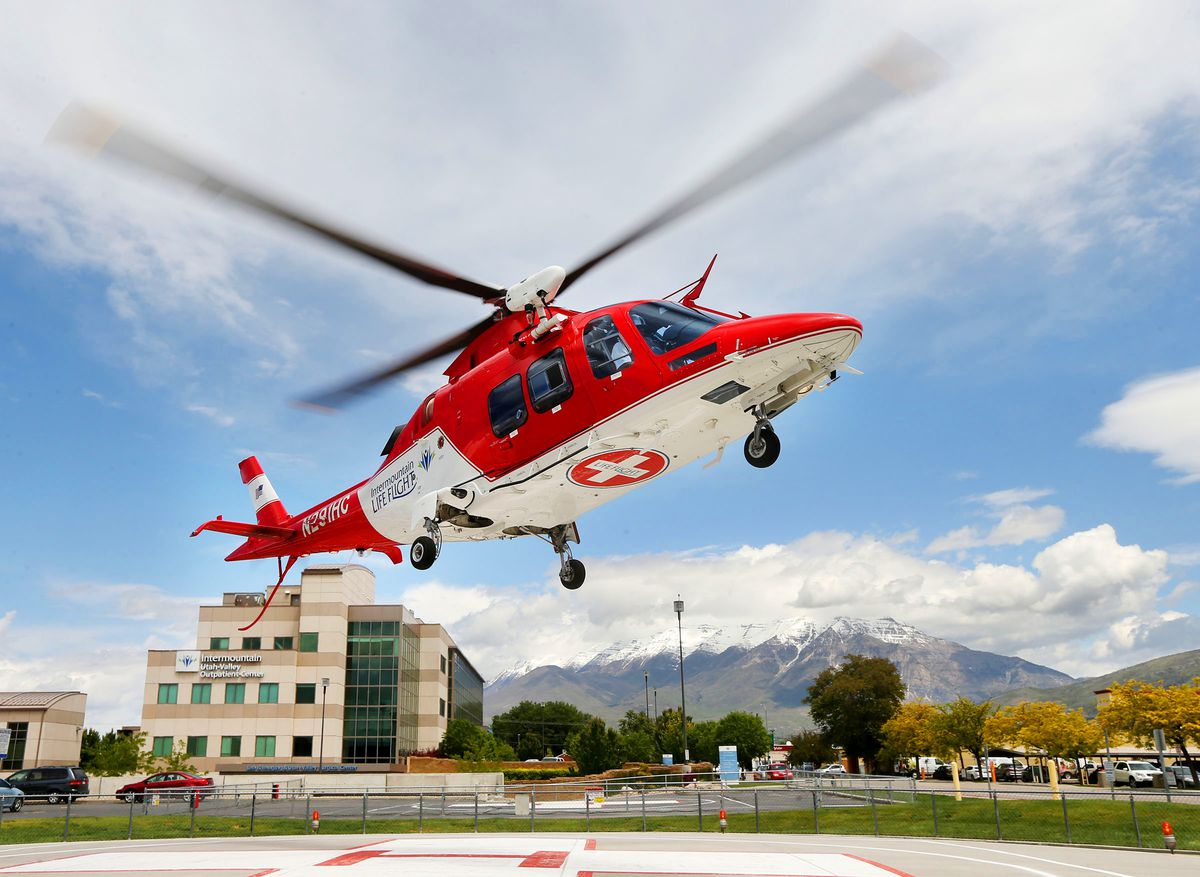 Dan Brown, former KSL helicopter pilot and current Intermountain Life Flight pilot, and his crew lift off Wednesday, May 27, 2015, from Provo's Intermountain Health Care.
