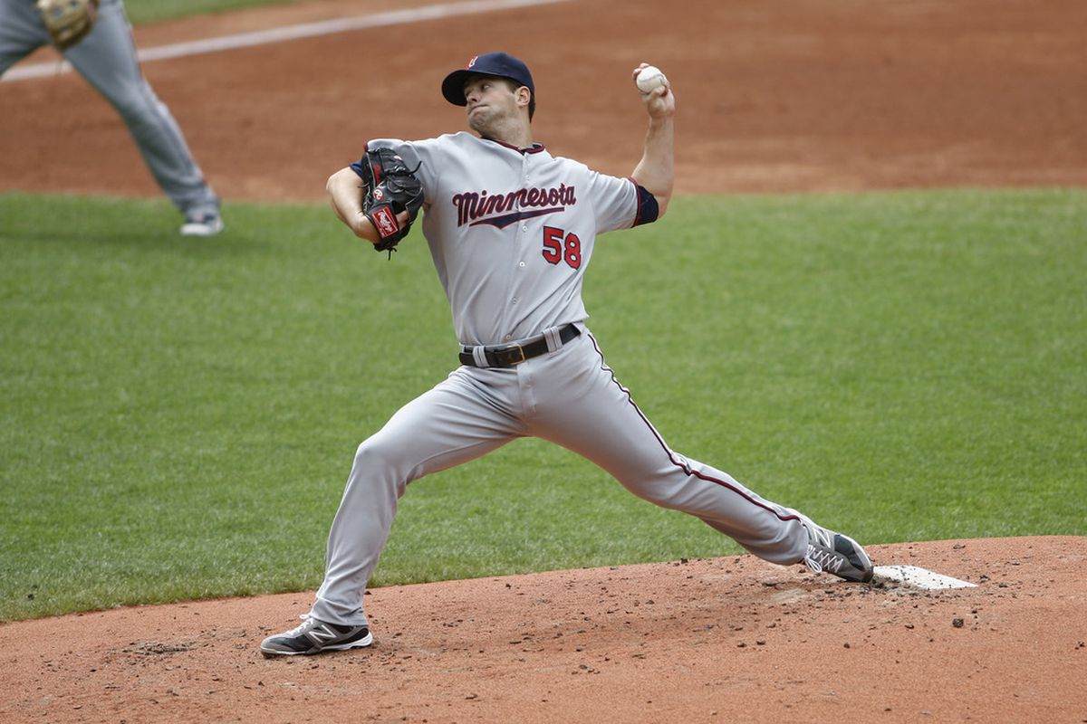 CLEVELAND, OH - JUNE 03:  Scott Diamond #56 of the Minnesota Twins delivers the pitch during the game against the Cleveland Indians at Progressive Field on June 3, 2012 in Cleveland, Ohio.  (Photo by John Grieshop/Getty Images)