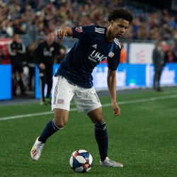 FOXBOROUGH, MA - MAY 11: New England Revolution forward Tajon Buchanan #11 on the attack during the second half goal at Gillette Stadium on May 11, 2019 in Foxborough, Massachusetts. (Photo by J. Alexander Dolan - The Bent Musket)