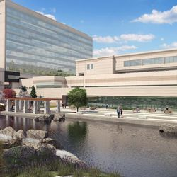 The Healing Pond will sit where the current patient tower stands. A walking path will go around the pond. Large windows facing out from the new cafeteria will overlook the pond.