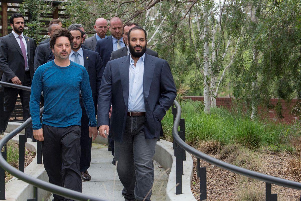 Crown Prince of Saudi Arabia Mohammed bin Salman Al Saud walking on the Google campus with Google co-founder Sergey Brin