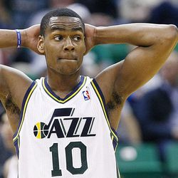 Utah Jazz's point guard Alec Burks (10) looks off the court as the Jazz begin to fall behind as the Jazz and the Rockets play Saturday, Nov. 2, 2013 in EnergySolutions arena. Jazz lost 104-93.