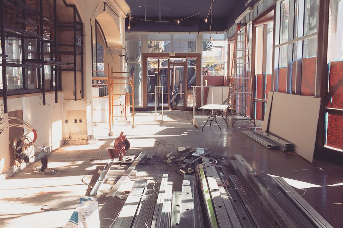 Construction inside Napa Valley Grille, Westwood