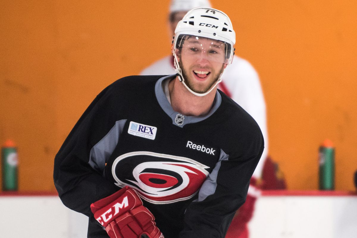 Defenseman Jaccob Slavin — pictured practicing at the Hurricanes' informal, player-run workouts at Raleigh Center Ice on Aug. 31, will be one of 22 players on Carolina's roster at the annual NHL Prospects Tournament in Traverse City, Mich.