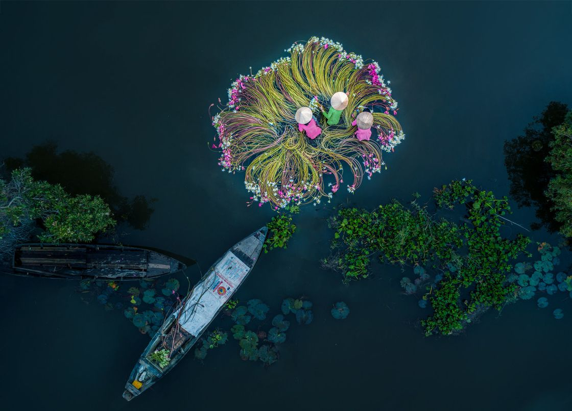 "Winner — fun category; ""Flowers on the water"" Photo: Khánh Phan"