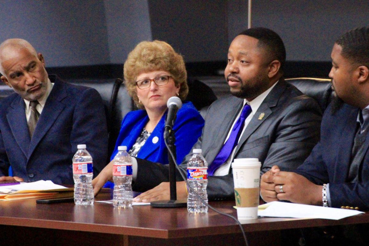 From left: Panelists Melvin Jones, Beth Phalen, Jonathan Logan, and Mike Brown offer their perspectives on the business of education during an event co-hosted by Chalkbeat, High Ground News, and MLK50: Justice Through Journalism.