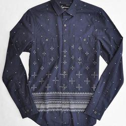 TOPMAN Twilight print shirt in navy ($65.00)