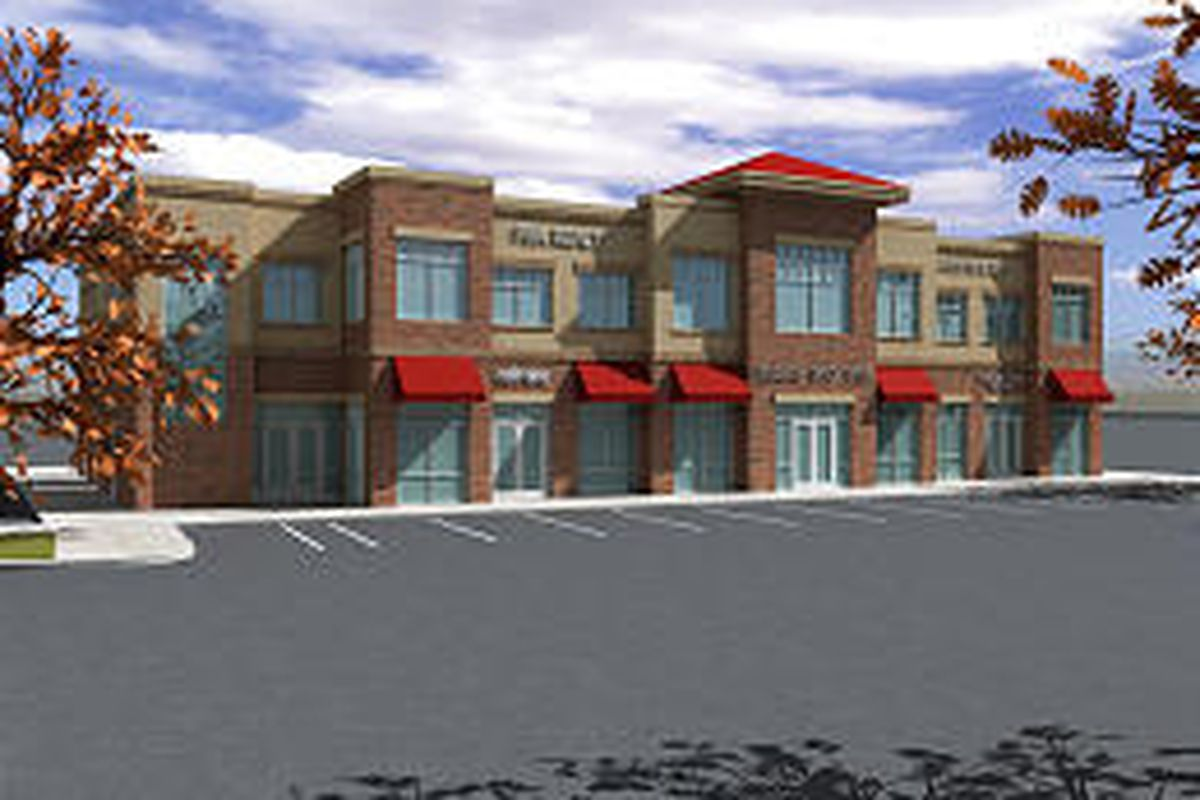 A computer-generated design of the future Renaissance Town Center office-over-retail building C on the site of the old Five Points Mall.