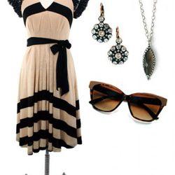 Eva Franco Adela Dress, $262; AJS Design Studio Crystal Earrings, $88;<br />Becky Kelso Gray Moonstone Pendant, $200;  AJ Morgan Divine Sunglasses<br />$16.