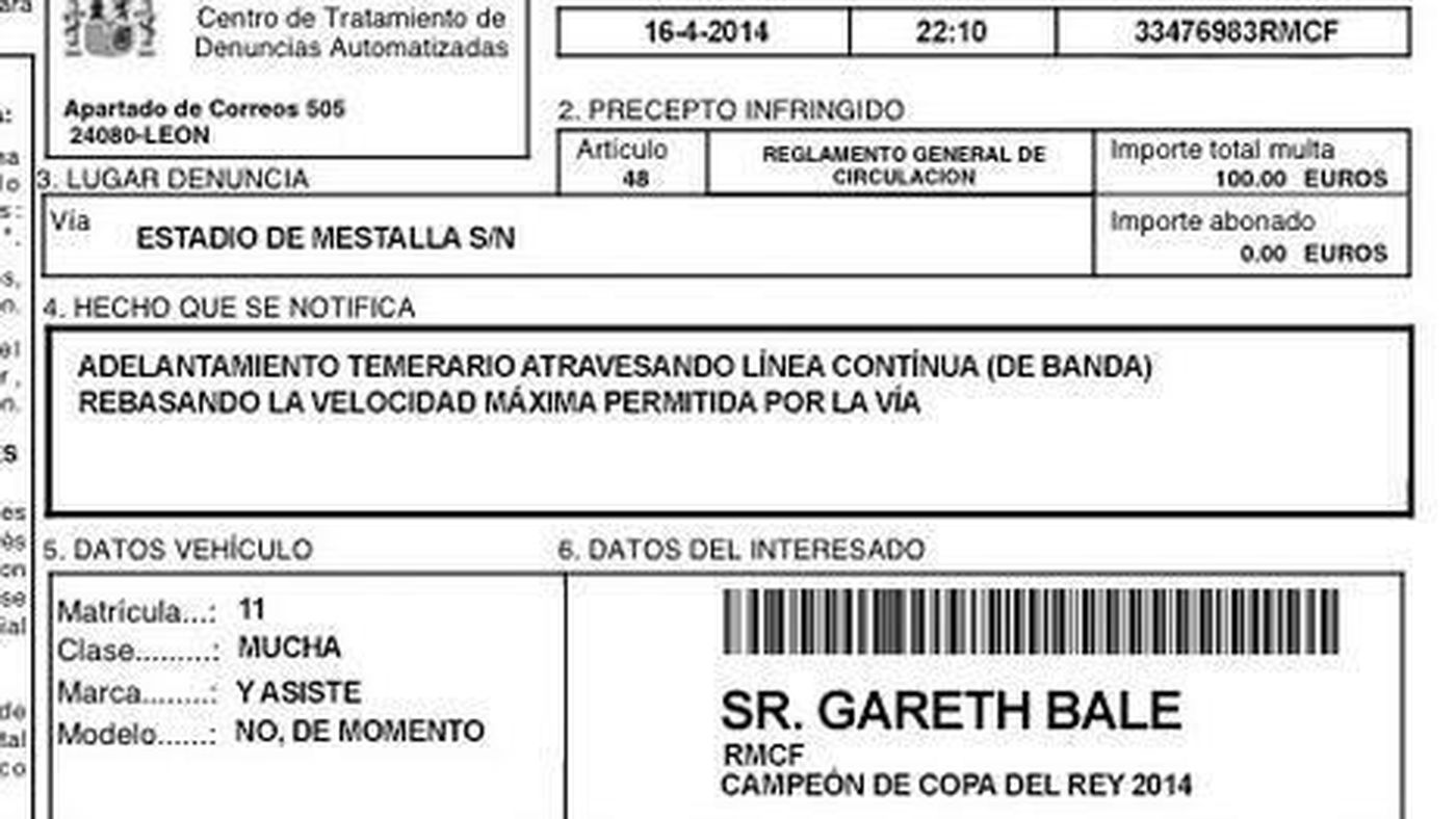Gareth Bale receives speeding ticket for his goal in Copa del Rey final