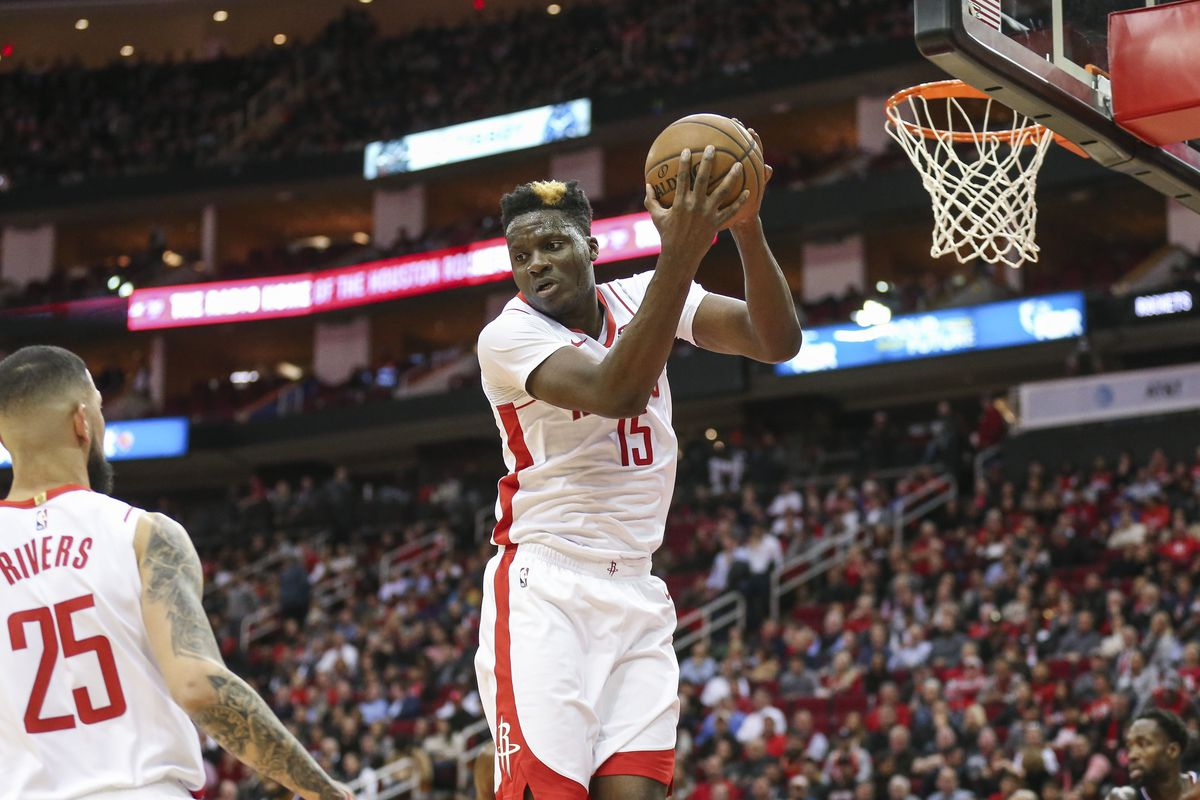 Houston Rockets center Clint Capela grabs a rebound during the second quarter against the Los Angeles Clippers at Toyota Center.