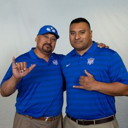 BYU football coach Kalani Sitake, right, and his father Tom.