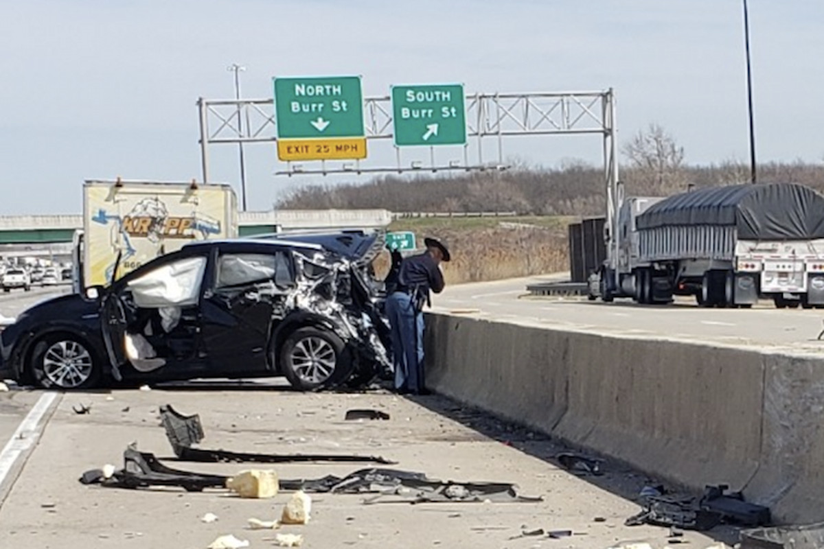 Indiana State Police investigate a fatal crash April 2, 2020 on I-80/94 near Burr Street.