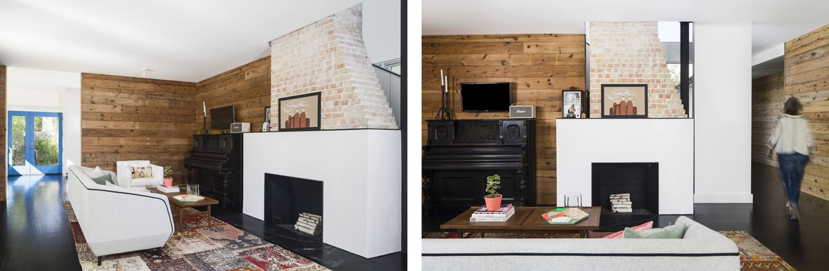 Two images of the living room space with a fireplace and brick chimney.