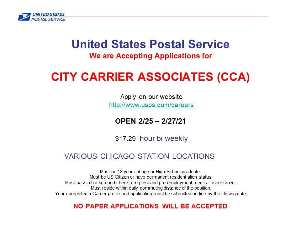 The Postal Service is hiring. Find information online at https://about.usps.com/careers/ — the Postal Service's jobs page.