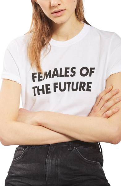 """A woman in a T-shirt that reads """"Females of the Future"""""""