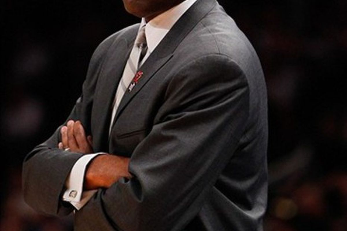 Mar. 14, 2012; New York, NY, USA; Portland Trail Blazers head coach Nate McMillan on the sidelines during the first quarter against the New York Knicks at Madison Square Garden.  Mandatory Credit: Debby Wong-US PRESSWIRE