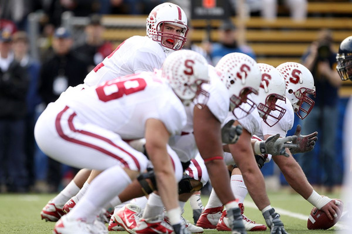 BERKELEY CA - NOVEMBER 20:  Andrew Luck #12 of the Stanford Cardinal lines up his team during their game against the California Golden Bears at California Memorial Stadium on November 20 2010 in Berkeley California.  (Photo by Ezra Shaw/Getty Images)