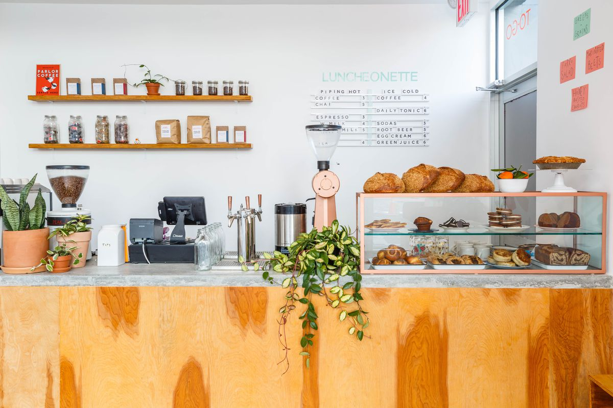 A pastry case sits atop the pastel counter at Gertie