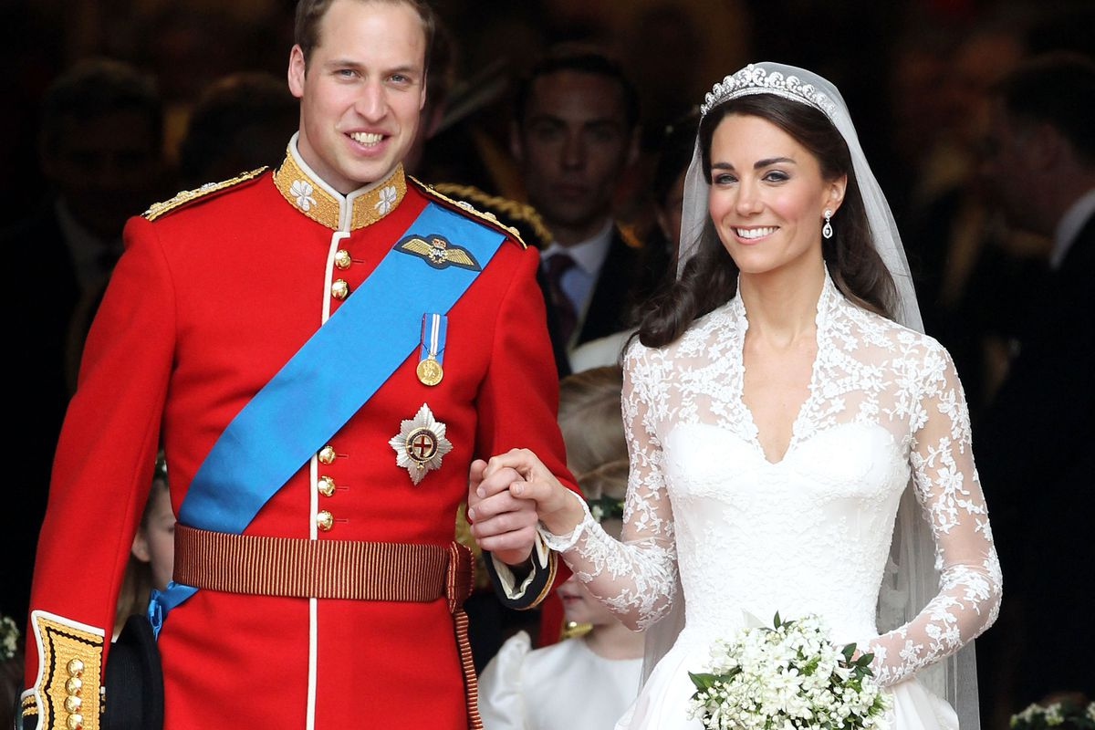 The Duchess of Cambridge wore an Alexander McQueen wedding gown with lacework by the House of Sophie Hallette.
