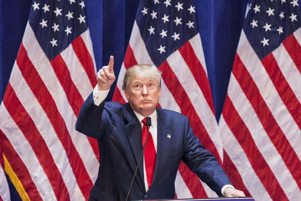 Donald Trump at his presidential campaign announcement in New York City.