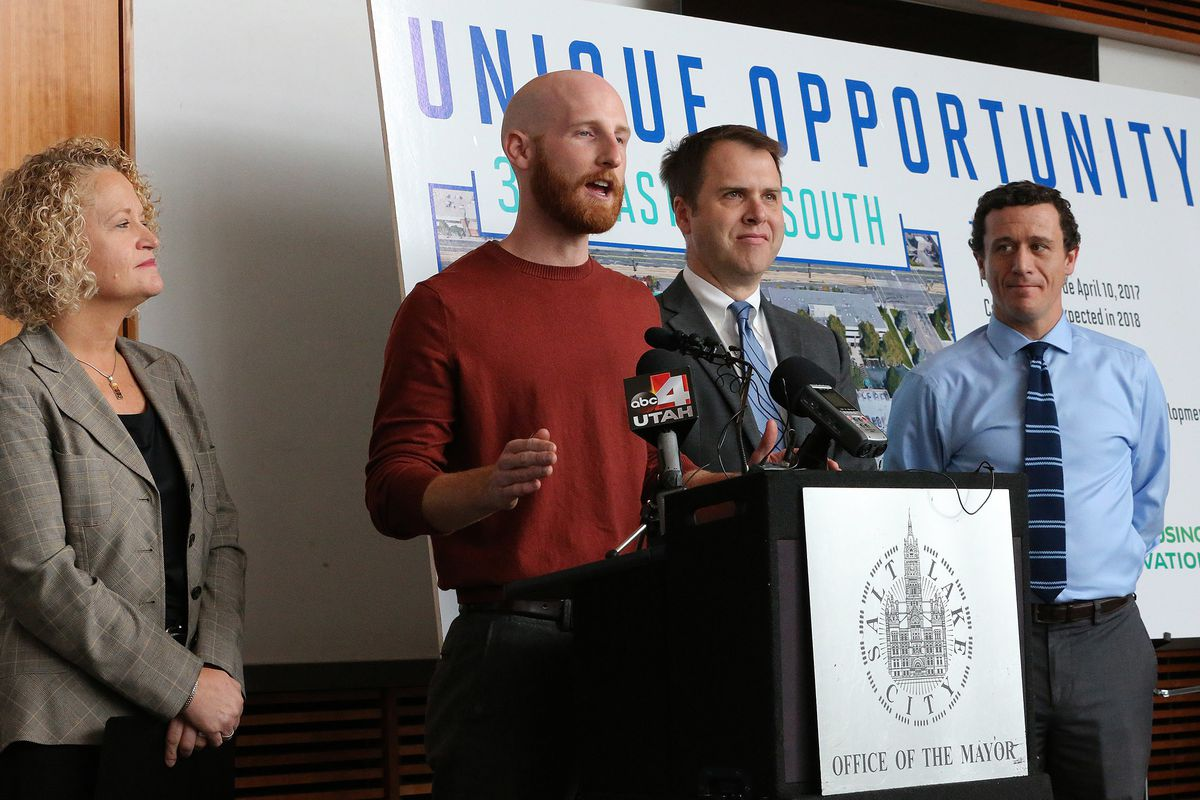 FILE - Salt Lake City Councilman Derek Kitchen speaks as Salt Lake City Mayor Jackie Biskupski, and Director of Community and Neighborhoods Mike Akerlow, and COO Redevelopment Agency of Salt Lake City Justin Belliveau, take questions from the media after