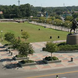 """<strong>2006- Bird's eye view showing bronze sculpture """"Unconquered"""" by Fritz White at the FSU Doak Campbell football stadium</strong>"""