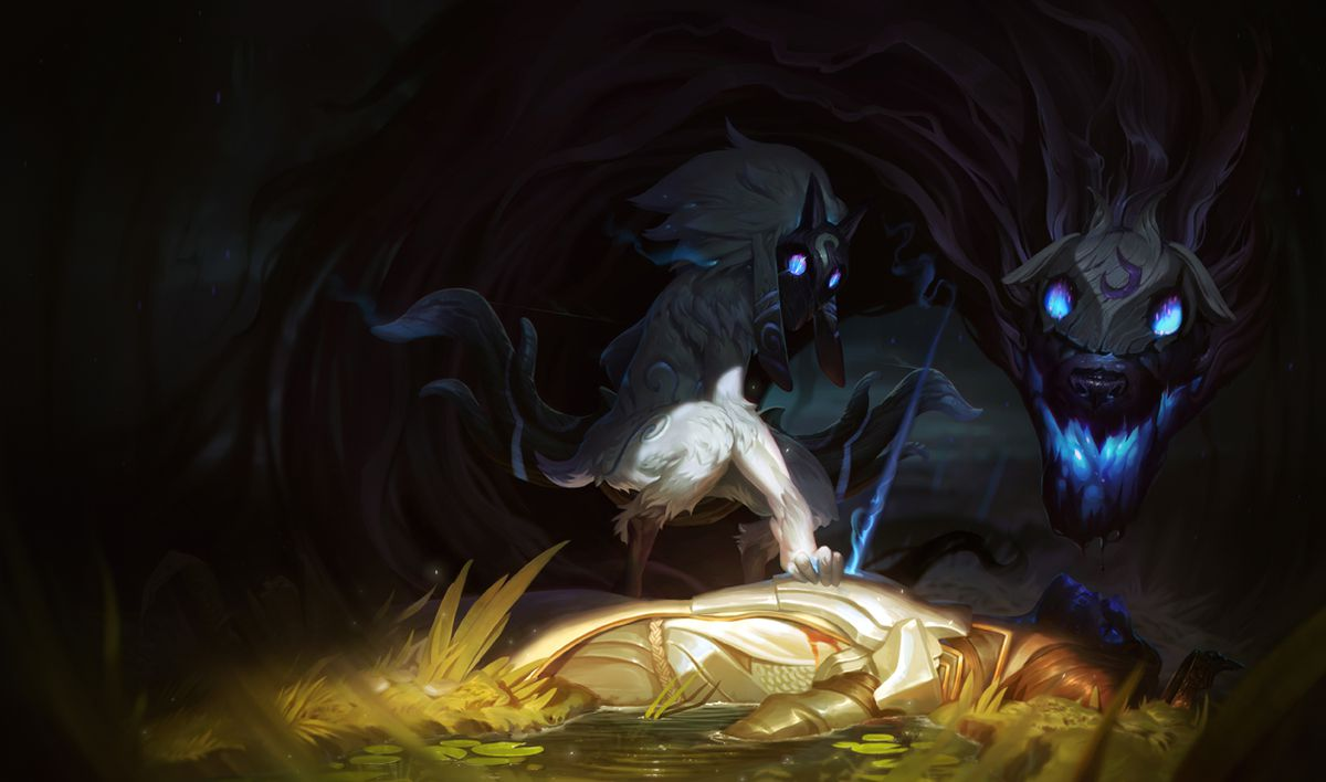 Lamb and Wolf pose mysteriously in Kindred's splash art, ready to pounce and take a new victim.