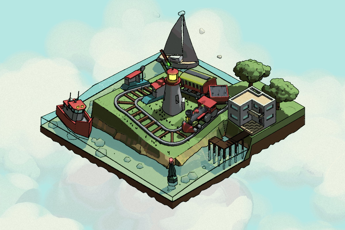 an image of an isometric of a cartoon train track looping around a lighthouse