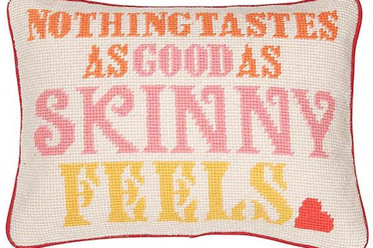 "Image via <a href=""http://www.kirnazabete.com/designers/jonathan-adler/nothing-tastes-as-good-pillow"">Kirna Zabête</a>"