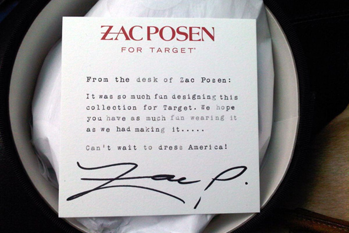 """It will be four hellishly long months before the line hits stores. Let's pray for another Eagle Rock miracle. Image via <a href=""""http://racked.com/archives/2009/12/15/collabs_zac_posen_for_target_gets_editors_all_hot_and_bothered.php"""">Racked</a>"""