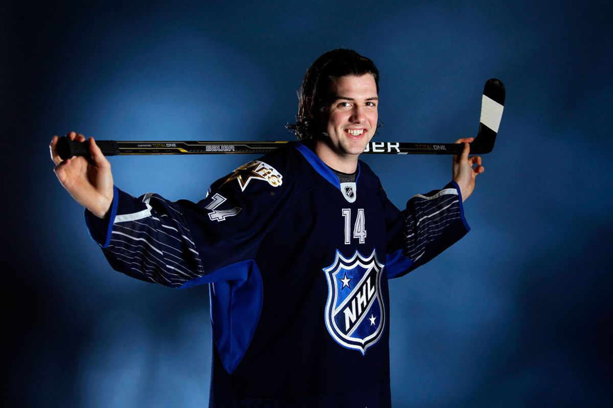 OTTAWA, ON - JANUARY 29:  Jamie Benn #14 of the Dallas Stars and Team Chara poses prior to the 2012 NHL All-Star Game at Scotiabank Place on January 29, 2012 in Ottawa, Ontario, Canada.  (Photo by Gregory Shamus/Getty Images)
