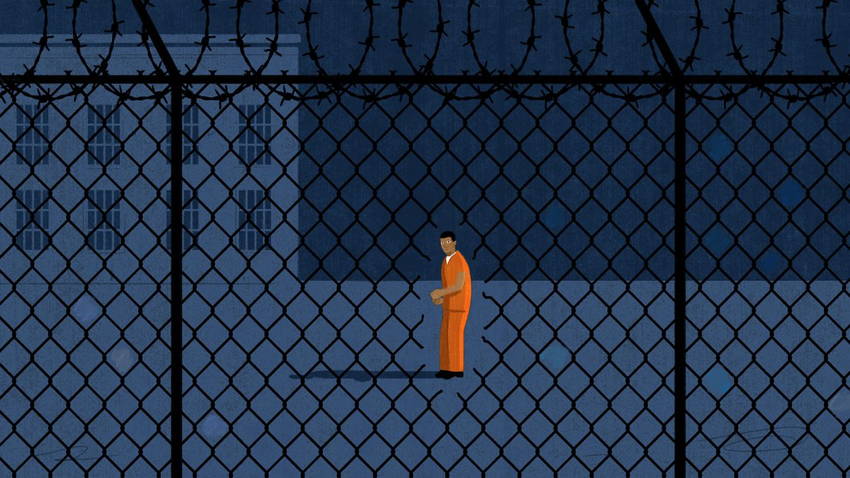 Illustration of a prisoner looking at a small hole in a wire fence surrounding his prison yard.