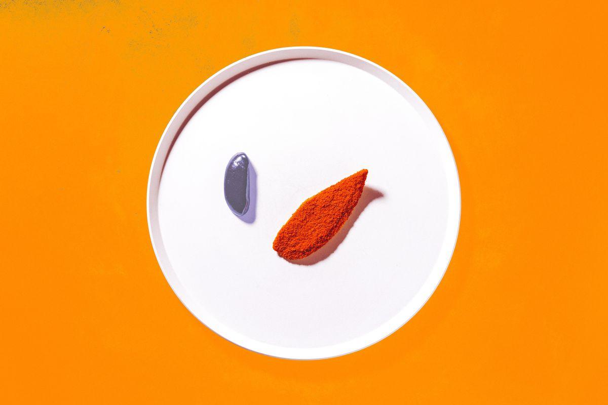 Michelin star London restaurant Ikoyi's plantain in raspberry salt
