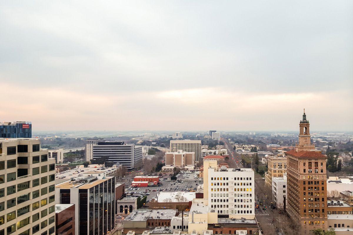 High-rise buildings seen against the horizon.
