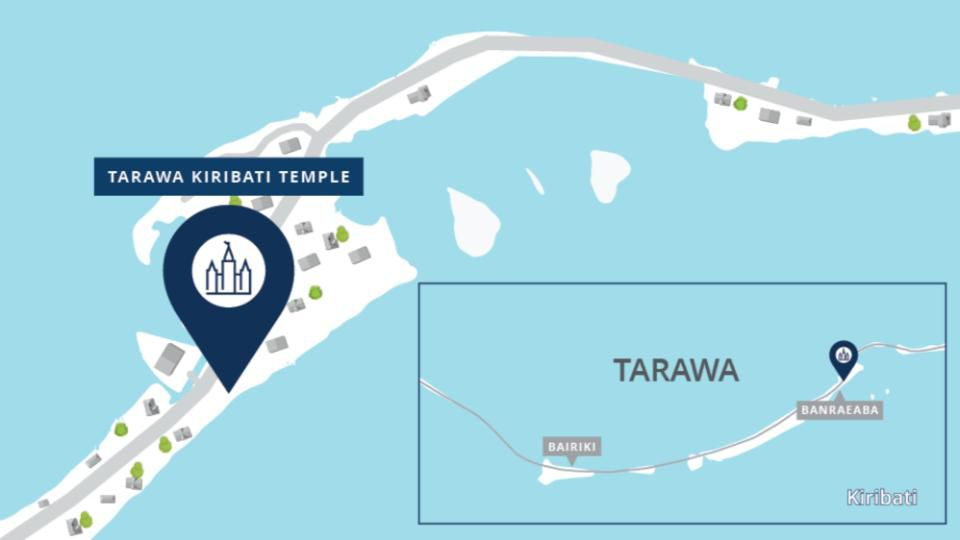 A map shows the location of the new Tarawa Kiribati Temple in the South Pacific.