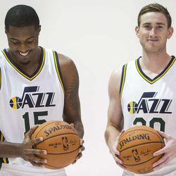 Derrick Favors and Gordon Hayward pose for photos as the Utah Jazz hold their media day Monday, Sept. 29, 2014, in Salt Lake City at the Zions Bank basketball center.