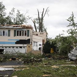 The home of Kris Florczak, 70, was severely damaged on Janes Avenue near Evergreen Lane in Woodridge after a tornado ripped through the western suburbs overnight, Monday morning, June 21, 2021.