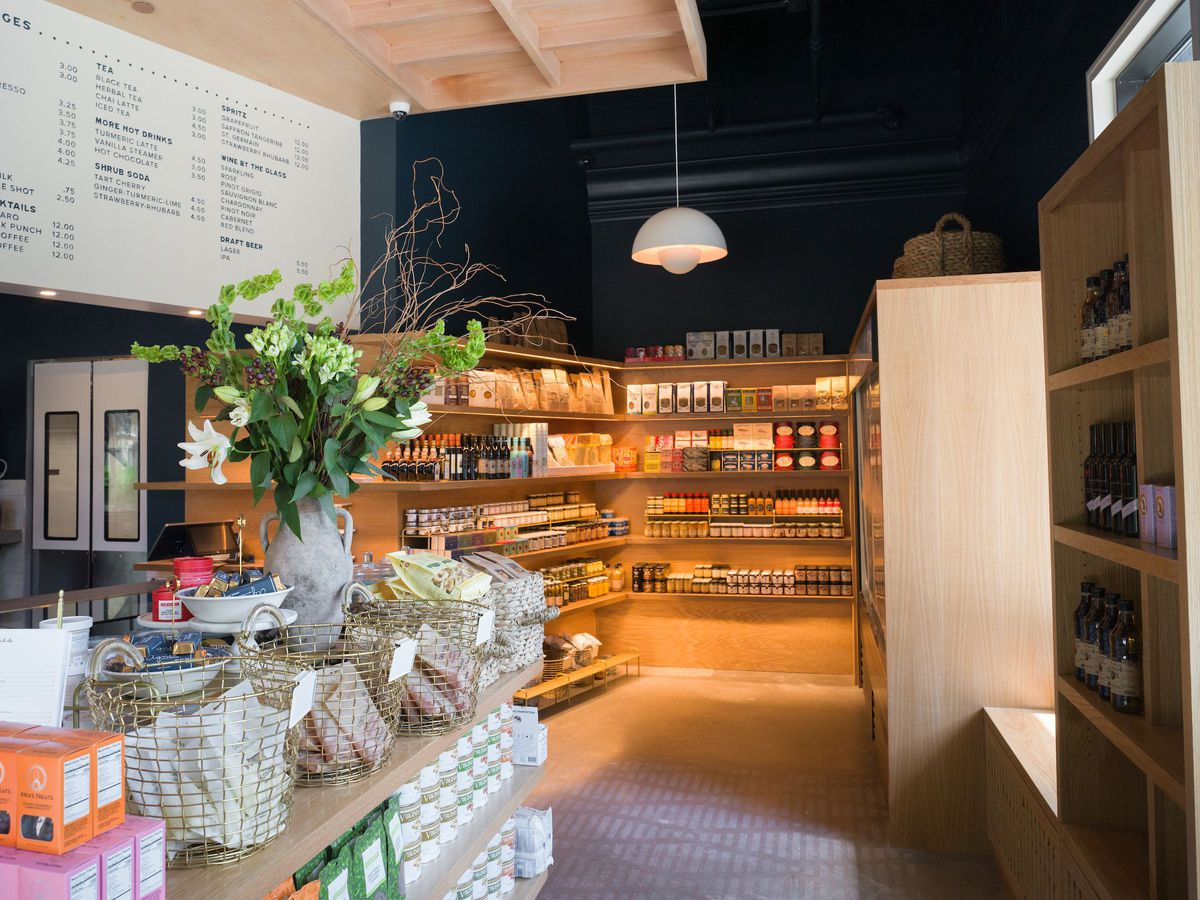 the interior of a boutique grocery store