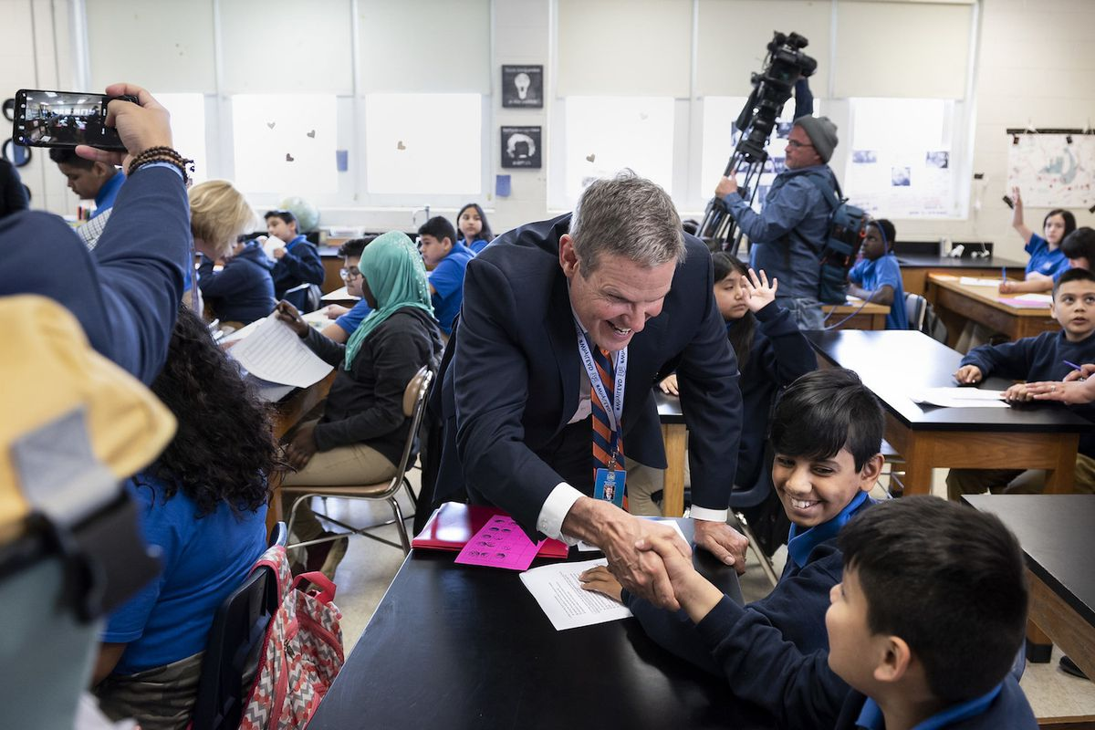 Gov. Bill Lee greets students at LEAD Cameron Middle, a charter school in Nashville.